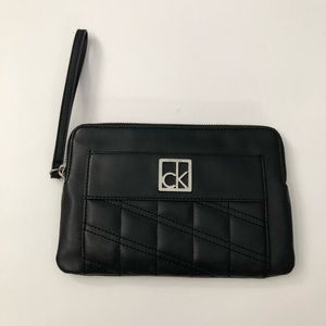 Calvin Klein Black Leather Wristlet